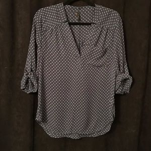 "Maurices ""Perfect Blouse"" in Teal Blue & White"
